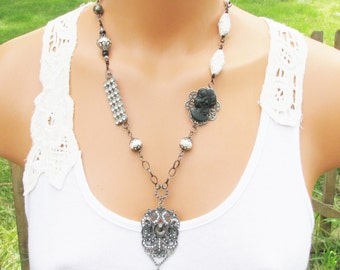 Repurposed Vintage Jewelry Assemblage Necklace, Black and White