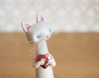 White Cat Figurine with a Red Crystal Heart by Bonjour Poupette