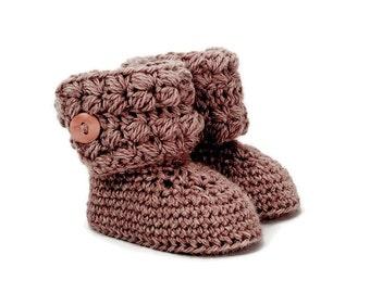 Girls Button Cuff Baby Boots in Brown Merino Wool
