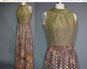 40% OFF 60s Dress Metallic Maxi Party Vintage 1970s Hostess Gold Floor Length Long Gown Sleeveless M