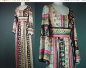40% OFF 70s Maxi Dress Bohemian Designer Vintage 1970s Hippie Boho Bell Angel Sleeve Mr. Simon Long Party Colorful M