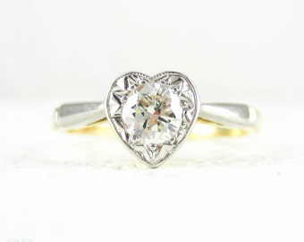 Heart Shape Diamond Engagement Ring, Vintage Love Heart Ring Set With Round Brilliant Cut Diamond in 18 Carat Gold & Platinum.