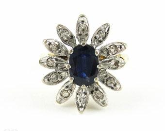 Mid Century Sapphire & Diamond Dinner Ring, Dark Blue Oval Cut Sapphire with Flower Design Diamond Halo Cocktail Ring.