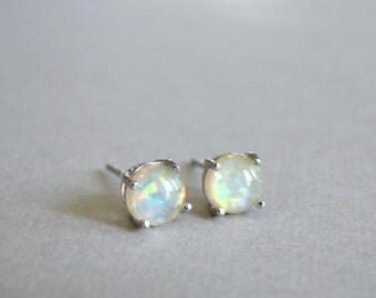 Genuine Opal Earrings / Opal Studs / Sterling Silver / Butter Yellow Opals / Gift for Her / Accessories / Gemstone Earrings