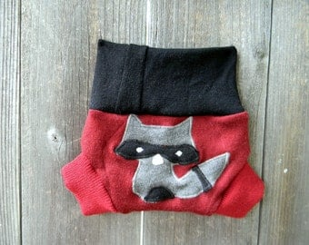 Upcycled Merino Wool Soaker Cover Diaper Cover With Added Doubler Red/Black  With Sneaky Raccoon Applique NEWBORN 0-3M