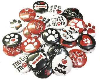 "Rescue Dog, 1"" Buttons, Adopt a Dog, Mutts, I Love My Dog, Dog Party Favors, Dog Pins, Dog Button, Dog Badges, Dog Flat Backs, Dog Theme"