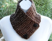 Small Dark Brown NECK WARMER Scarf with Wood Buttons, Soft Buttoned Cowl, OOAK Handmade Crochet Knit Acrylic Scarflette..Ready to Ship