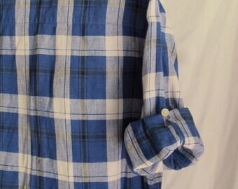 Blue & White Plaid Linen Shirt Women's Size Large Ralph Lauren Linen Long Sleeve Button Front Shirt Roll-Up Button-Tab Sleeves Resort Wear