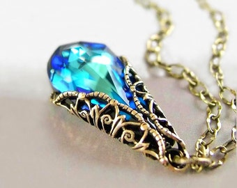Swarovski Blue Crystal Necklace Aqua Blue Pendant Necklace Ocean Blue Necklace Antique Gold Brass Chain Victorian Jewelry Dark Blue Teardrop
