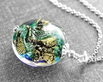 Black Sea Green Necklace Sterling Silver Authentic 24k Gold Foil Murano Glass Pendant Necklace Colorful Venetian Glass Disc Necklace