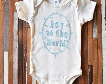 Organic Cotton Baby One Piece - Screen Printed Onesie - American Apparel Baby Bodysuit - Baby Christmas Outfit - Organic Baby Clothing - Joy