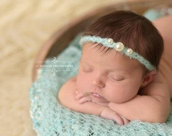 Baby Blue Triple Pearls Mohair Halo Tieback Headband Newborn Photography