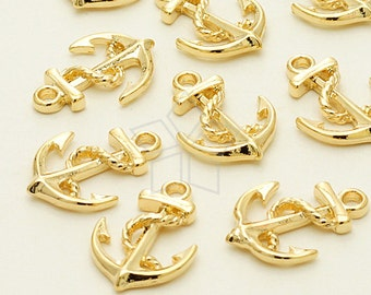 PD-1096-GD / 4 Pcs - Mini Rope Anchor charm, 16K Gold Plated over Pewter / 11mm x 16mm