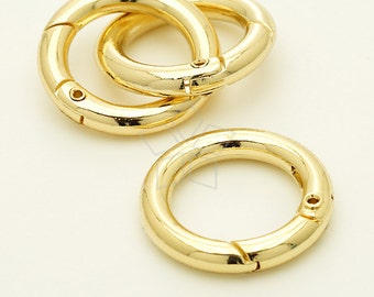CS-002-GD / 2 Pcs - Round Spring Gate Ring, Spring Ring, High Qulity, 16K Gold Plated / 0.7 inch(18mm) inner diameter