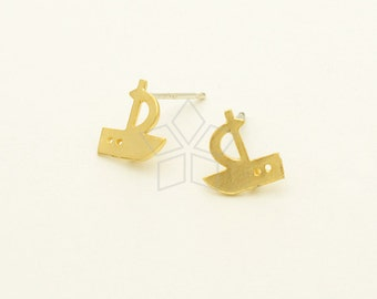 SI-745-MG / 2 Pcs - Sailing Ship Earrings, Sailing Boat Stud Earrings, Matte Gold Plated, with .925 Sterling Silver Post / 8.7mm x 9mm