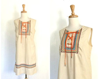 Vintage Cotton Sundress - 60s dress - boho hippie dress - lace up dress - sleeveless - summer fashion - babydoll - M L