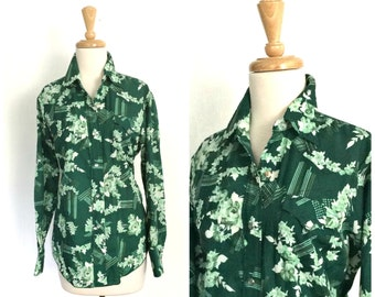 Vintage Western Shirt - 70s blouse - disco shirt - fitted shirt - button down blouse -  S M