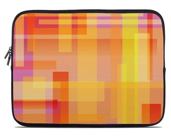Geometric laptop cover, netbook case, laptop sleeve, laptop case, to fit 10, 13, 15, 17 inch, computer sleeve, pink and orange