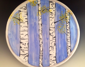 Serving Plate with Aspen Trees.