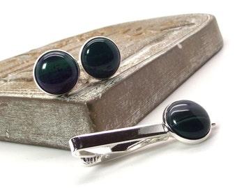 Onyx Agate Cufflink and Tie Clip Set - Purple and Green Cufflink and Tie Clip Set – Tie Bar and Cufflinks