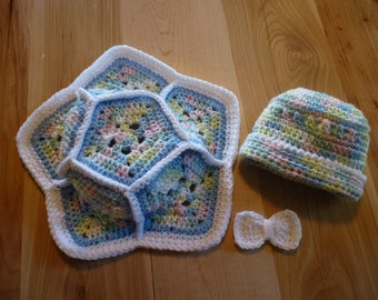 Crocheted Turtle Shell & Hat Set
