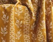 Vintage Schumacher Cotton Upholstery Fabric - Colonial Williamsburg Stencil Flower Mustard Printed Block Print Pattern  - 1/2 Yard Yardage