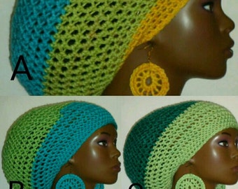 CLEARANCE Crochet Large Tam Hat Ready to Ship Cap with Drawstring and Earrings Dreadlocks Rasta Tam by Razonda Lee Razondalee