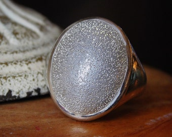 Sterling Silver Large Oval Sparkle Ring Ladies Size 7