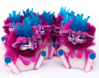 Aqua Quartz Crystal Kitten - unique gift idea, healing crystals on fantasy dolls