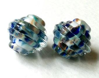Blue Breeze - Ribbed Bicones - Handmade Lampwork - UK - SRA.
