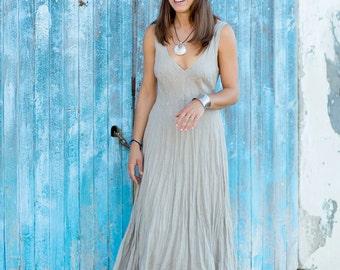 Midi Natural Linen Dress / Stone Sand / Summer Dress / Pure Linen / Crinkled Linen / Boho Beach Dress / Hand Made