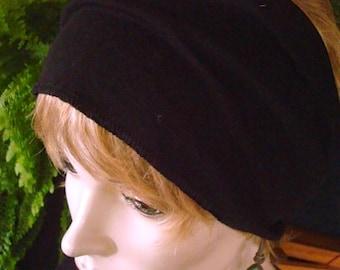 womens Headband extra Wide Headband Comfortable Yoga turband Alopecia fine merino Black