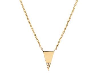 Small Triangle Necklace, Gold Diamond Triangle Necklace, Modern Triangle Necklace, Tribal Necklace, Pave Diamond Necklace, Boho Necklace