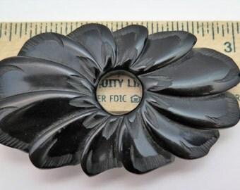 Vintage Bakelite Black Brooch Carved Oval Swirl Tested!