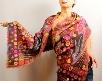 Pashmina Scarf, Pashmina Wrap, Stole, Pure Wool Pashmina Shawl, Oversized Scarf, Gift For Her, Silk Embroidery, Multicolor Shawl