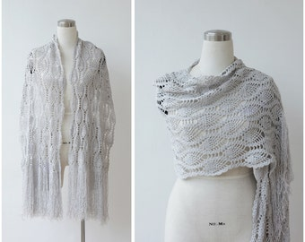 Grey Silver Crochet Shawl Boho Shawl Shimmer Shawl Hand Knitted Fringe Metallic Scarf Wrap Evening Shawl