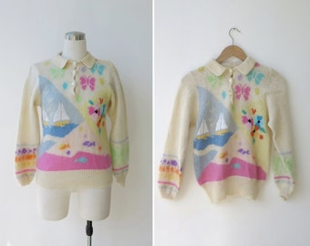 1960s vintage cream pastel mohair sweater, nautical 60s knit vintage sweater sailboat floral