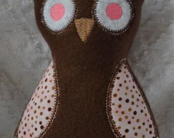 Handmade Stuffed Brown Fleece Owl