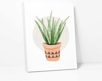 CANVAS PRINT: Aloe Vera Plant Illustration, Cactus Artwork Housewarming Gift Cottage Cabin Beach Home Decor