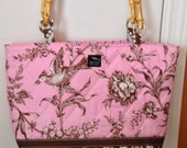 Ready to Ship Pink Brown Damask Birds Flowers Quilted Fabric Women's Woman's Ladies Purse Bag  Handbag