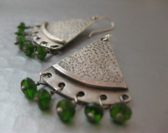 Boho Chic Triangle Earrings with Chrome Diopside