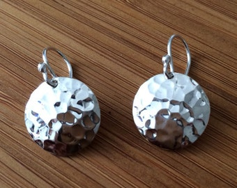 Silver Earrings - Hammered Silver Disc Jewelry - Dangle Disc Earrings - Disc Earrings - Gifts For Her- Christmas Gift Stocking - 30.107.2