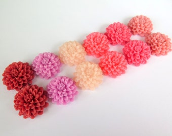 12PCS - Valentine Mix 2016 - Mixed Pinks - Resin Mum Flower Cabochons - 20mm - Jewelry Supplies by Zardenia - Ships from US