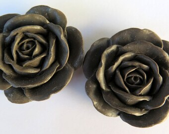 2PCS - Large Brown Rose Cabochons - 38mm - Matte - Resin Cabochons - Jewelry Supplies by Zardenia - Ships from US