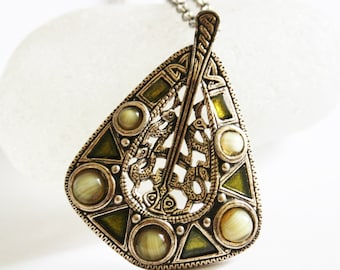 Miracle pendant.  Vintage Miracle necklace. Green Miracle pendant.  Celtic necklace