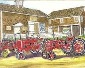 Vintage JFarmall tractors at the Canterbury Shaker Village art print