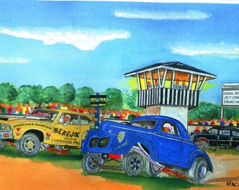 "Norwood Arena Drag Strip Art Print ( 1/8 mile long drag strip at Norwood Arena called named "" New England Dragway South"