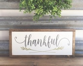 THANKFUL hand-painted wooden sign 9  x 24