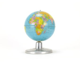 "vintage replogle simplified 8"" globe on aluminum base"