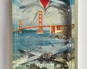 Lonely Heart No.201597 Golden Gate Bridge / altered playing card deck / paper sculpture
